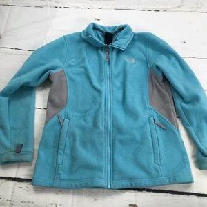The North Face GIRLS powder blue fleece coat